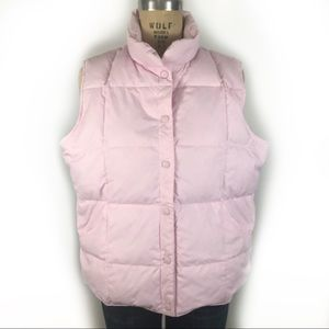 Lands' End pink down puffer vest large quilted